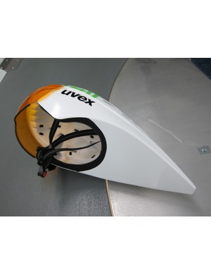 One of the fruits of wind tunnel testing is lower covers on aero helmets as seen on this 1t4i team-issue Uvex lid.