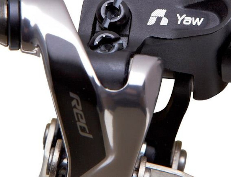 The redesigned SRAM Red front derailleur features non-parallel pivot pins that will allow the cage to automatically adjust its angle (hence the 'Yaw' moniker) depending on chainring position for reduced cage rub