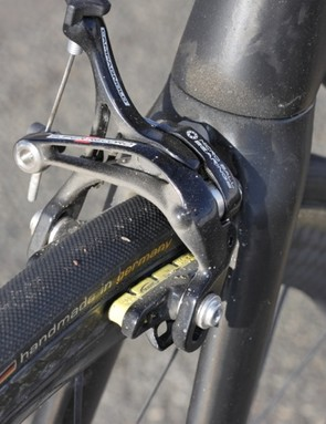 We would have liked Campagnolo's dual pivot brakes front and rear