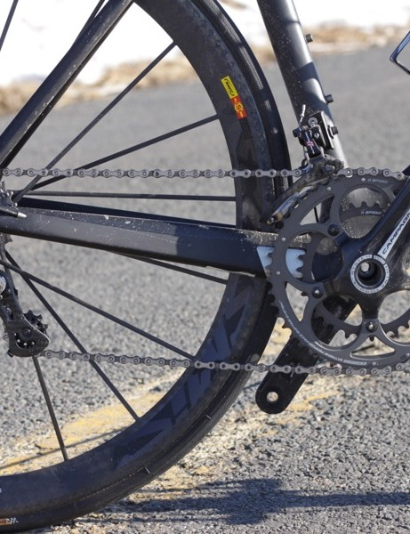 The Super Record drivetrain; we'd swap the compact crank for a standard version on a bike like the AeRoad CF
