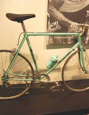 A Bianchi road bike from 1973 complete with celeste water bottle
