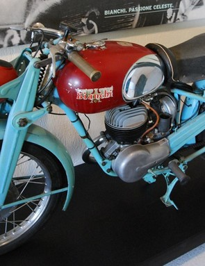 While no longer produced, this motorcycle shows that Bianchi even used the celeste paint on its non-bicycles as well