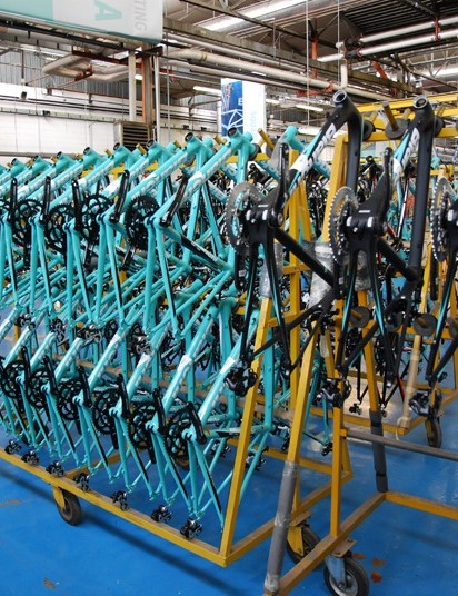 Frames ready for assembly in Bianchi's Treviglio factory