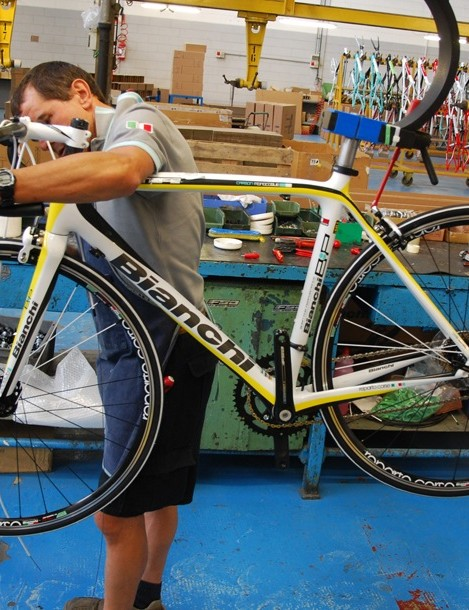 This Bianchi road bike gets the finishing touches on the non-assembly line