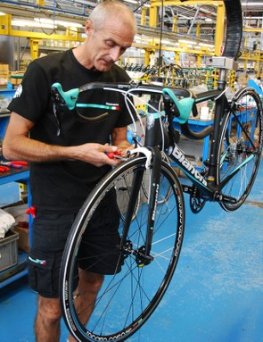"""This """"old pro"""" has been building Bianchi bikes for nearly 35 years, meaning he's produced thousands of road bikes—which remain his specialty"""