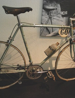 A little worse for wear, this Bianchi road bike from 1953 still retains some of that magical paint