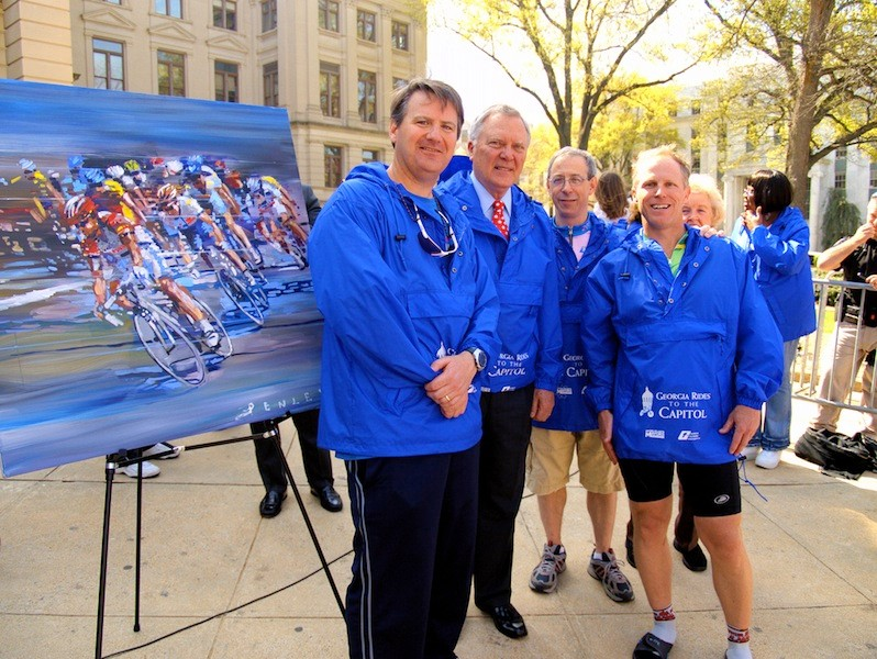 Dunwoody Mayor Ken Wright, Georgia Governor Deal, and Dunwoody City Council Members Robert Wittenstein and Doug Thompson during the 2011 Georgia rides to the capitol event