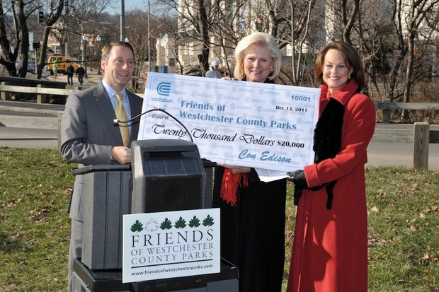 At the press conference to announce that Con Edison and Friends of Westchester County Parks are teaming up to save Westchester County's Bicycle Sundays program were, from left to right: Westchester County Executive Robert P. Astorino; Con Edison Director of Westchester Public Affairs Sandy Miller; Friends of Westchester County Parks Board of Trustees Chairman Liz Bracken-Thompson