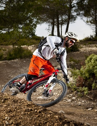 Rob rails a berm on the Mondraker Tracker R