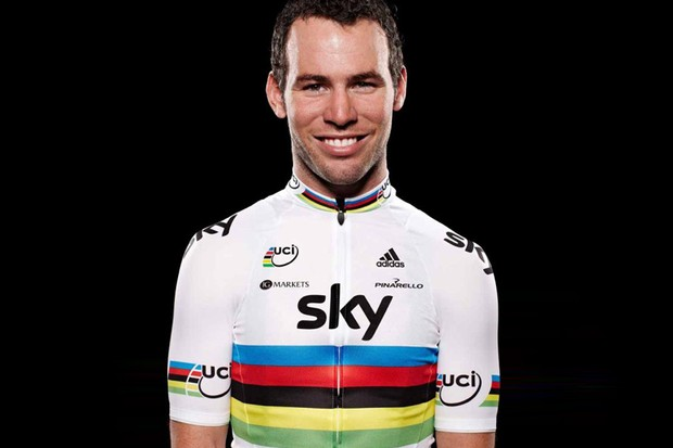 Cavendish will spend his first year as a Sky rider in the rainbow jersey