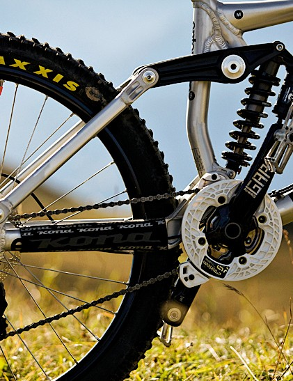 Kona's classic suspension design is controlled by Fox's RC2 rear shock