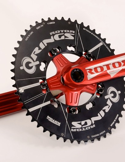 The crank is anodized red and sports all of the standard 3D crank's features, including a replaceable spider