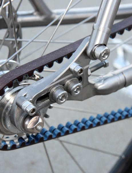 The sliding dropouts can be swapped out for geared or singlespeed use and the driveside one can be split for belt compatibiity. Fender and rack eyelets are included, too