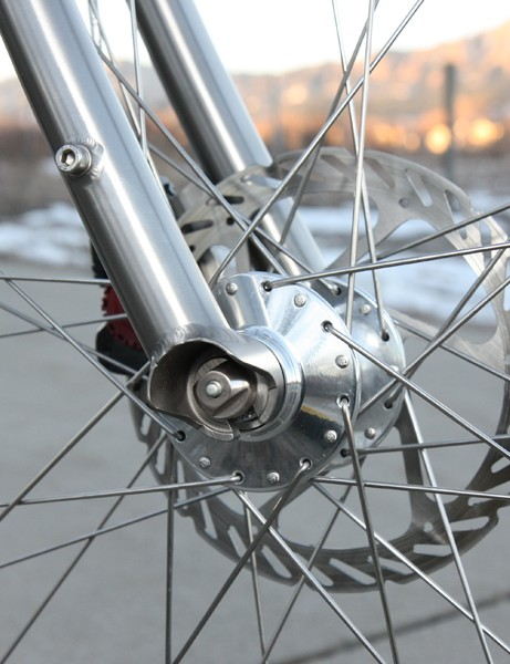 The titanium forks are finished with elegant hooded dropouts
