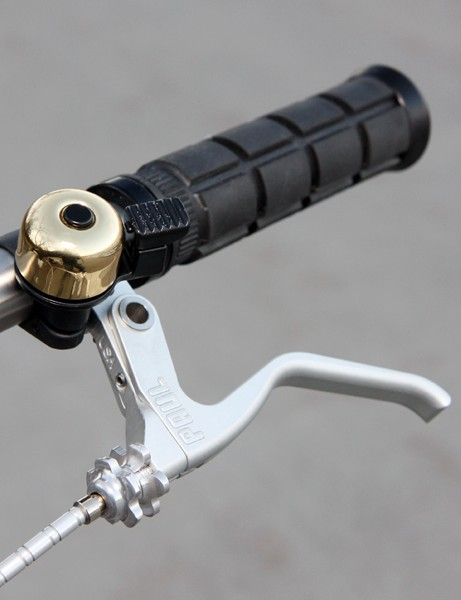 Paul Budnitz says the Paul Components brake levers are purely coincidental in terms of the name, instead being chosen for their sleek look and durability. The brass bell is optional but sounds fantastic