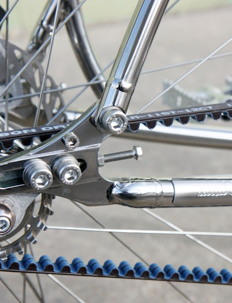 Even the dropouts are polished on this specially finished Budnitz Bicycles No.1