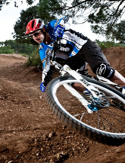 Two-time world downhill champion Fabien Barel puts the prototype Mondraker Foxy through its paces