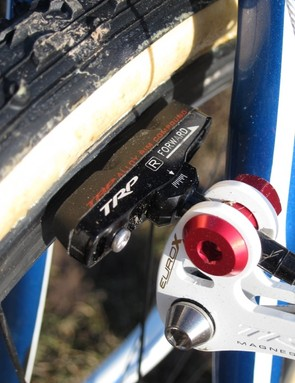 Page uses TRP's alloy-specific brake pads on his carbon rims