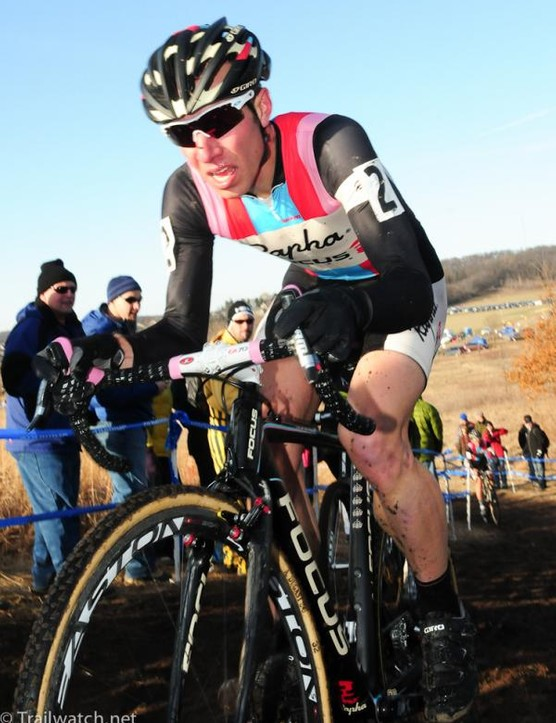 Jeremy Powers (Rapha Focus) on a climb during the second lap