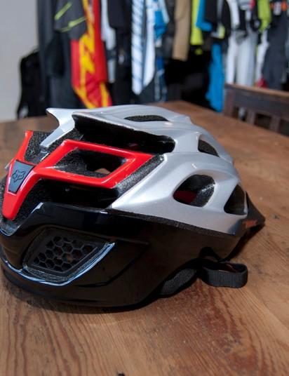 2012 Fox Striker helmet in silver/red