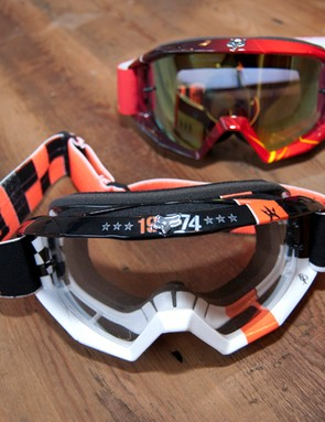 2012 Fox Main goggles. In the foreground is the Covert Ops, with the Future Red behind
