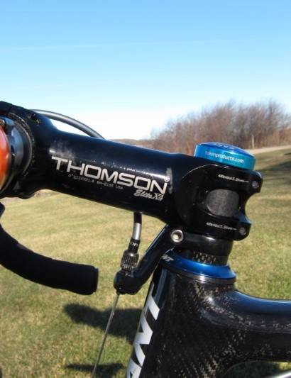 Thomson's Elite X4 stem has a 0° rise, which is imperative to Compton's fit, but isn't offered by component sponsors PRO