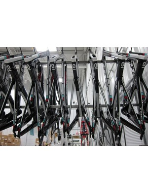Sights like this – racked RadioShack-Nissan-Trek Speed Concepts – are common in Trek's Race Shop