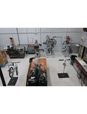 The workshop has four work areas for building bikes