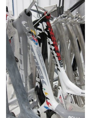 2010 U23 world champion Matthias Fluckinger had a back-up bike stashed in the Race Shop for 2011; when the shop do a special bike they generally do an extra or two, so they're ready if something happens to the first
