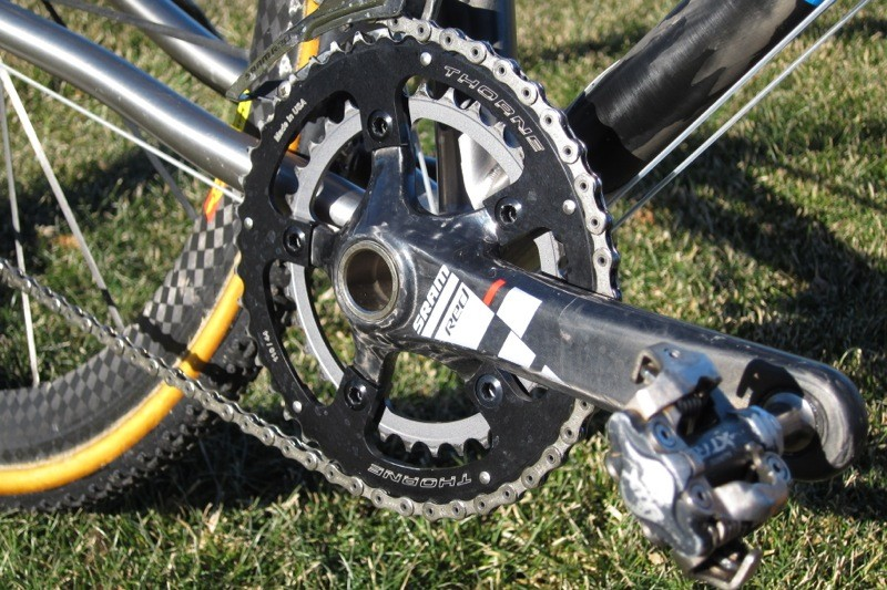 A compact GXP crank with 34-tooth SRAM inner ring and 44-tooth Thorne outer ring