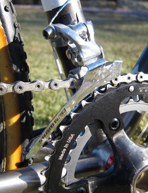 The steel caged SRAM Red front derailleur