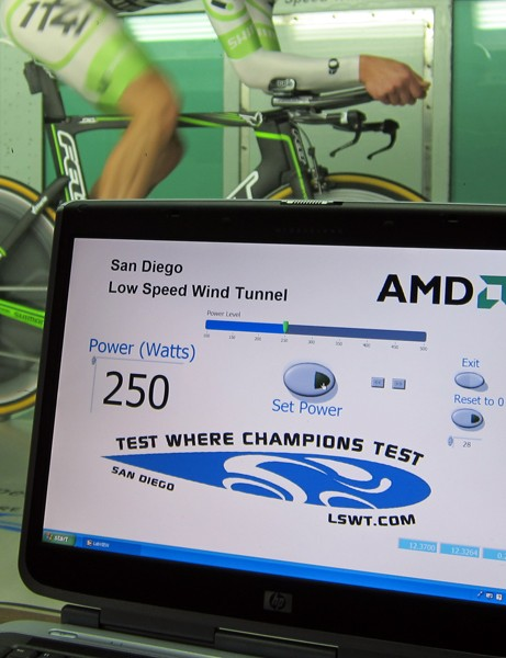 Test engineers can set the pedaling resistance to a wide range of values but 250 watts apparently works well here
