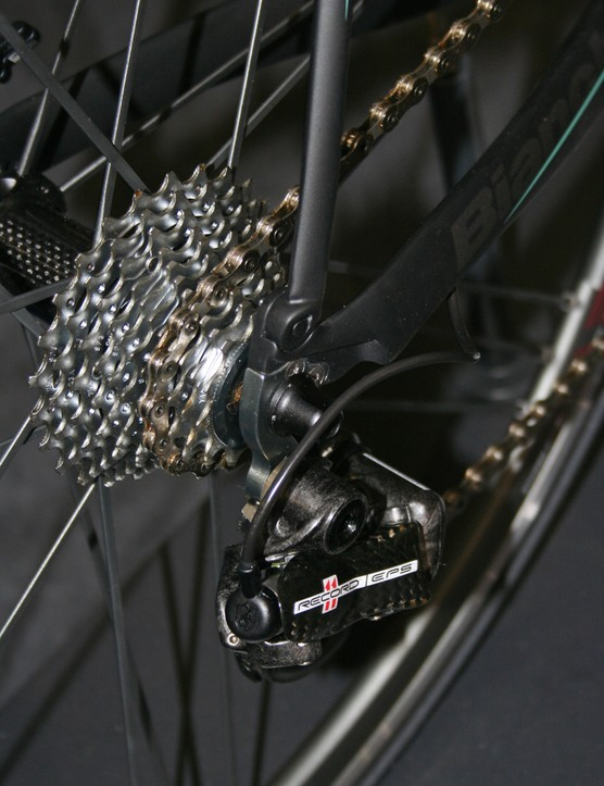 Campagnolo Record EPS rear derailleur on the Bianchi Oltre