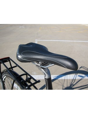 The wide Bontrager H1 saddle is reasonably comfortable for upright riding
