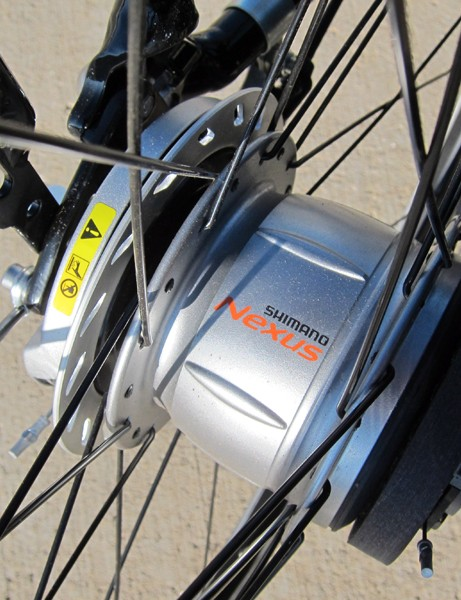The Shimano Nexus 8 rear hub is a bit of a tank but its nearly maintenance-free construction is a boon for commuting and the eight gear ratios are well spaced