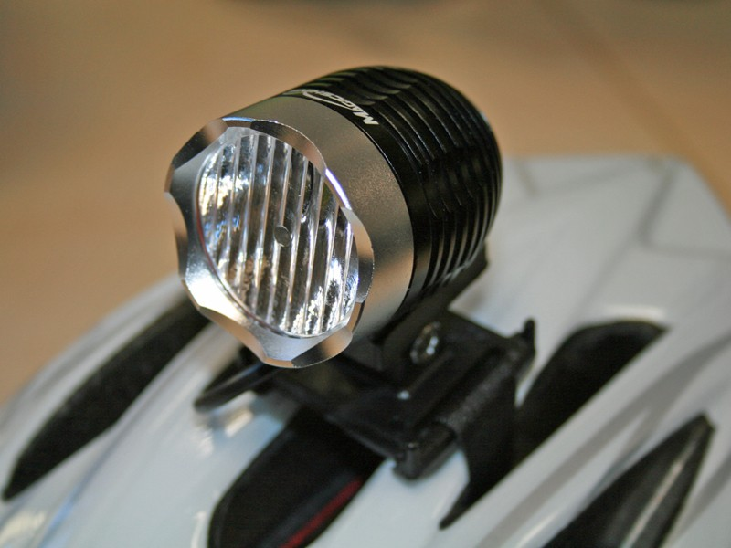 Magicshine MJ-808 fitted with the Magiclight wide-angle lens and helmet mount