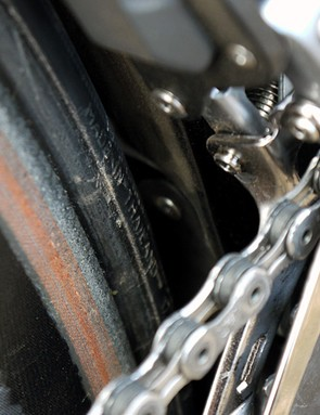 Close up of the front derailleur