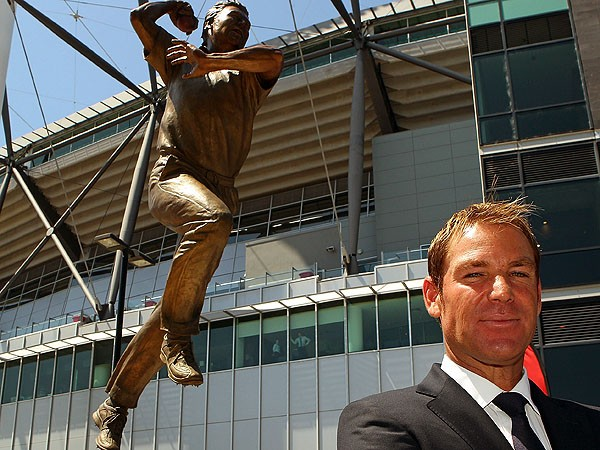 Warne (left) at the recent unveiling of his bronze statue outside the Melbourne Cricket Ground