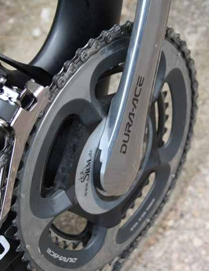 Shimano Dura-Ace 7900 chainrings are mounted to an SRM power meter
