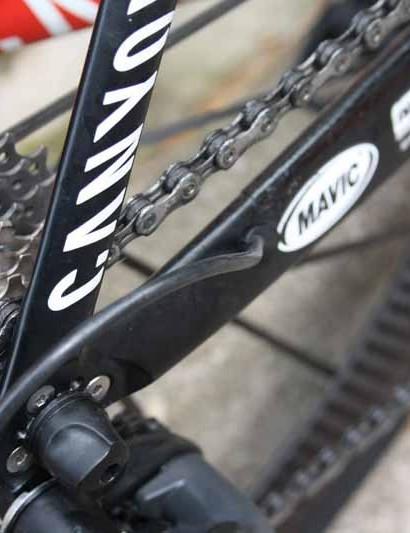 Katusha team bikes get internal routing for the Shimano Dura-Ace Di2 wiring