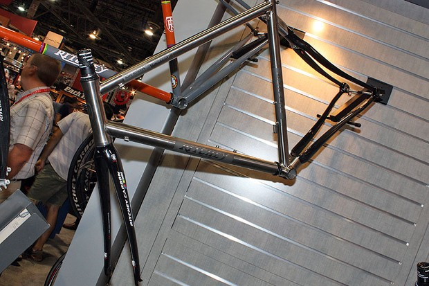 Ritchey's Breakaway Ti/Carbon road frameset disassembles for packing into a compact travel case but it also looks to be a nice bike in its own rights