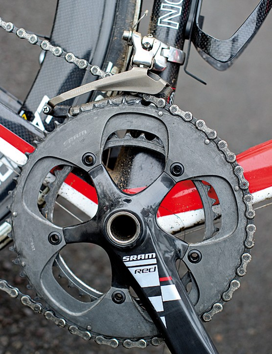 Behind the SRAM Red crankset you can see the massive bottom bracket area. This one isn't BB30 but it's an option