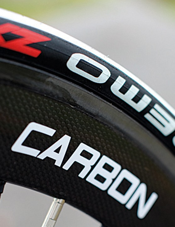 58mm full carbon clinchers are the Trigon's trump card against its price rivals. They're light, stiff and rapid