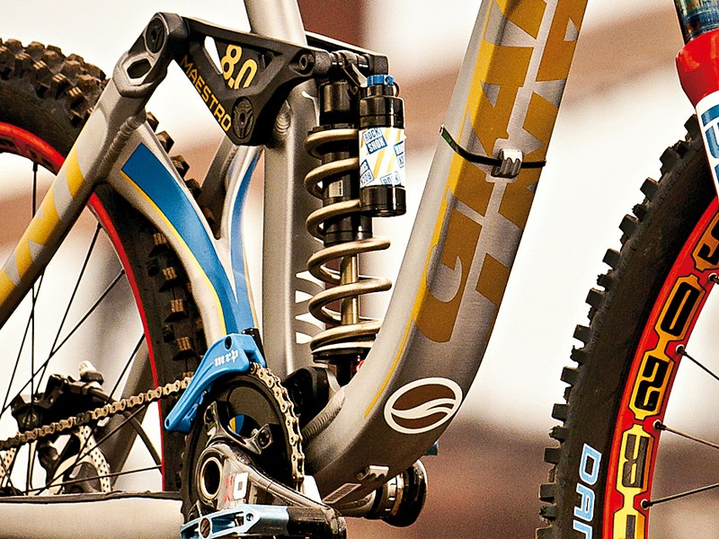 The RockShox Vivid rear shock gets a titanium coil spring to save weight