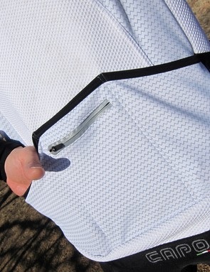Outer pockets have angled tops for easier access. The zippered pocket is lined with waterproof material and sealed with a waterproof zipper, too