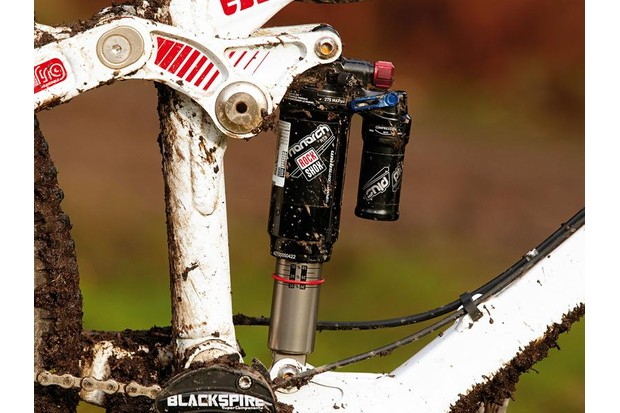 The RockShox Monarch Plus RT3 bolted to Jake's Devinci Dixon