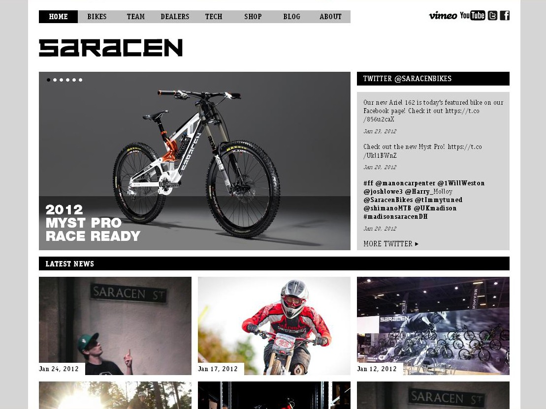 The brand-spanking new Saracen website