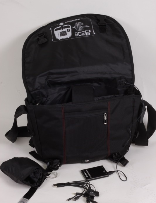 The bag comes with a battery, to collect from the solar panel, and USB charging adaptors