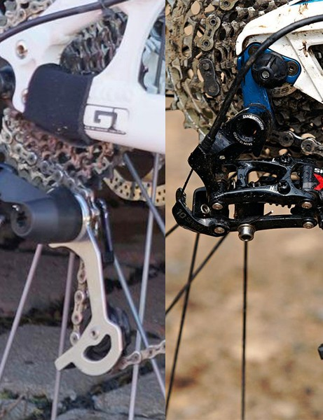 SRAM's prototype (left) looks markedly different from the current X0 mech (right) in the p-knuckle area