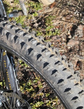 Transition from the center tread to the side knobs proved the tire's greatest shortcoming